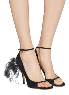 Valentino Ostrich feather trim suede d'Orsay sandals
