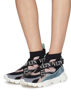 Valentino 'Heroes Her' logo strap sock knit high top sneakers