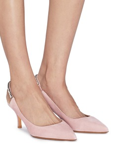 Valentino Glass crystal suede slingback pumps