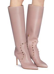 Valentino Rockstud panelled leather knee high boots