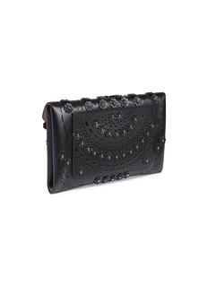 Alaïa 'New Vienne' floral stud geometric lasercut leather envelope clutch