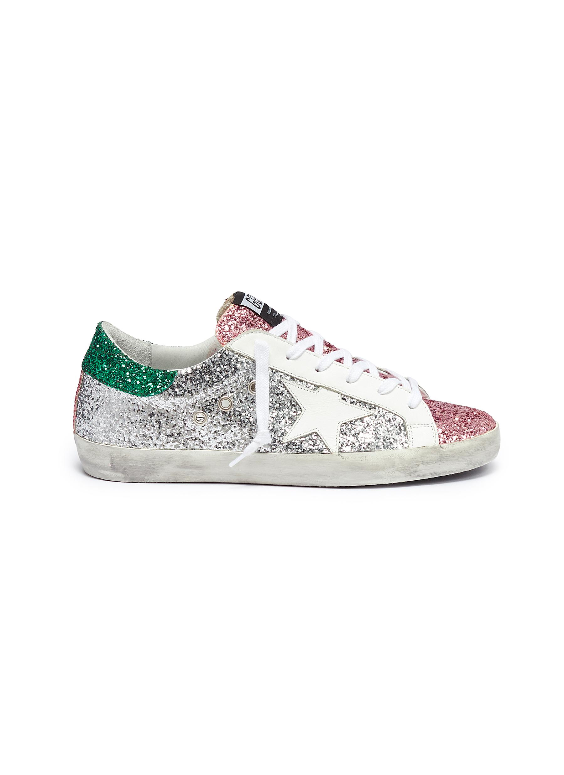 Superstar colourblock glitter coated leather sneakers by Golden Goose