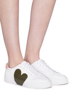 Pedder Red 'Josie' heart reverse appliqué leather sneakers