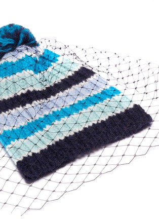 5fbc4178f2d7e Detail View - Click To Enlarge - Bernstock Speirs - Pompom veil stripe knit  beanie
