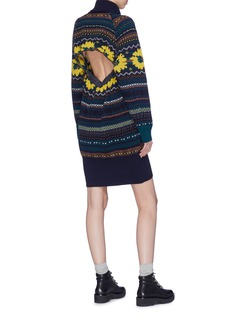 Sacai Cutout back Fair Isle intarsia knit dress