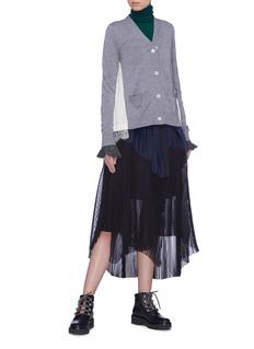 Sacai Contrast ruffle cuff wool turtleneck sweater