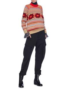Sacai Cutout back Fair Isle intarsia wool sweater