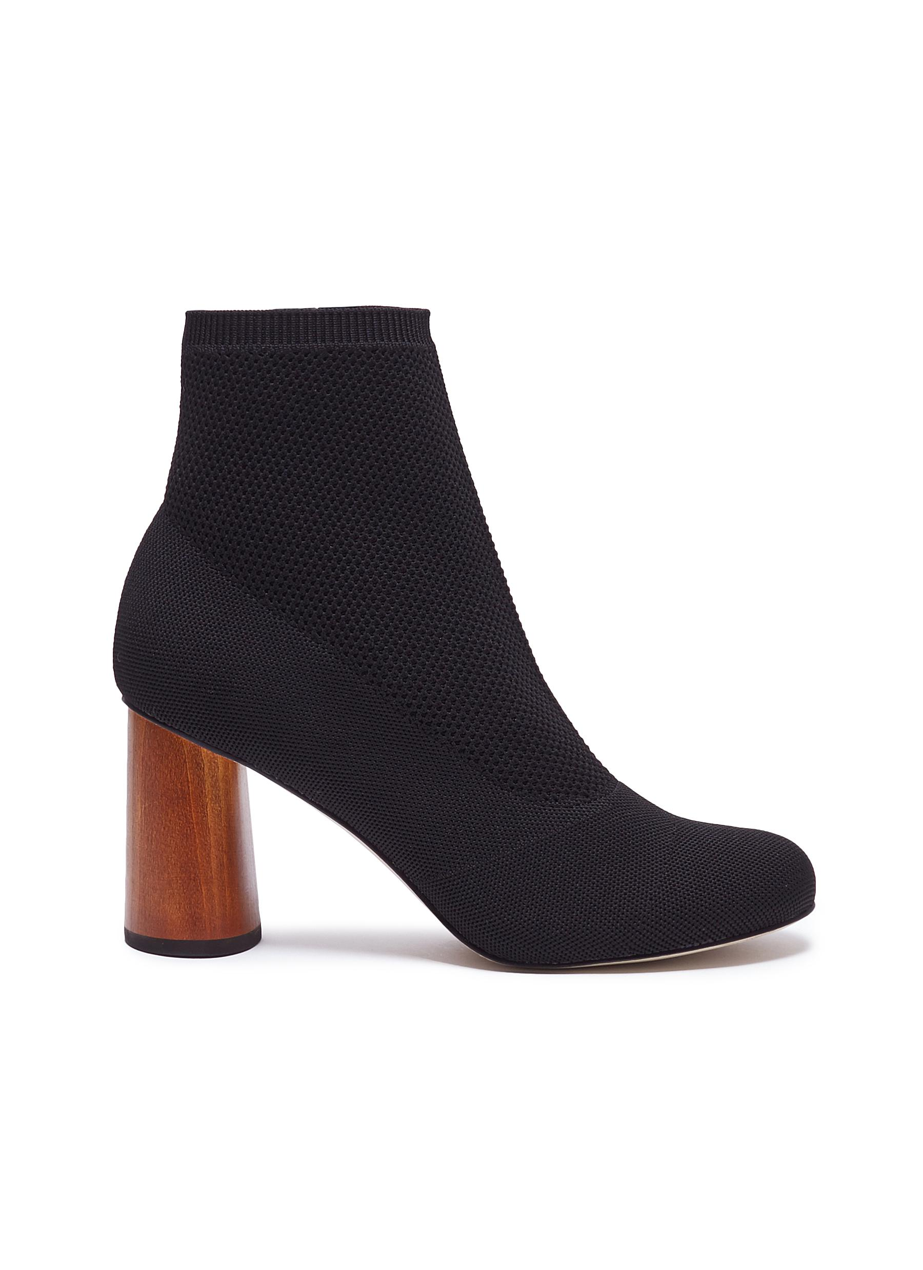Bia wooden heel sock knit ankle boots by Pedder Red