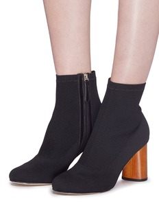 Pedder Red 'Bia' wooden heel sock knit ankle boots