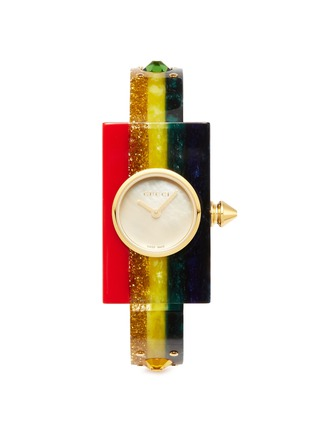 Main View - Click To Enlarge - GUCCI - 'Vintage Web' rainbow resin watch