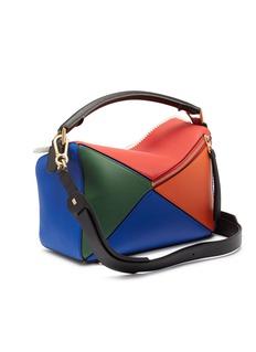 Loewe 'Puzzle' medium macramé border colourblock leather bag