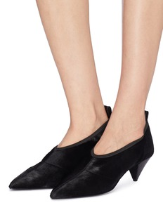 Alumnae Cone heel calfhair choked-up pumps