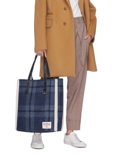 JW Anderson 'Tartan Belt' shearling trim check plaid Harris tweed tote
