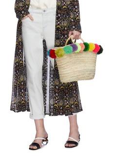 Bom Bom Morocco Pompom woven straw basket bag