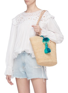 Bom Bom Morocco 'St-Tropez' pompom tassel woven raffia basket bag