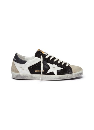 Main View - Click To Enlarge - GOLDEN GOOSE - 'Superstar' colourblock leather panel suede sneakers