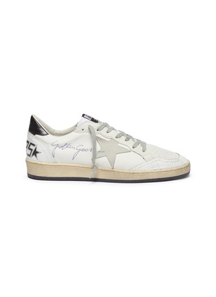 Main View - Click To Enlarge - GOLDEN GOOSE - 'Ball Star' slogan print counter panelled canvas sneakers