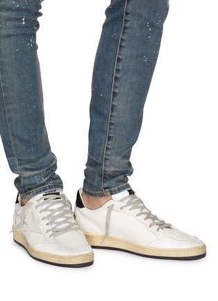 Figure View - Click To Enlarge - GOLDEN GOOSE - 'Ball Star' slogan print counter panelled canvas sneakers