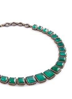 Aishwarya Diamond emerald gold alloy earrings and necklace set