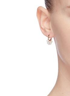 SYDNEY EVAN Pearl fringe 14k yellow gold hoop earrings