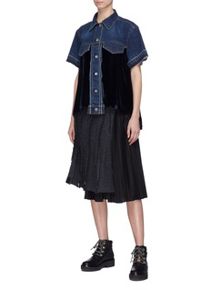 Sacai Cutout back velvet panel denim top