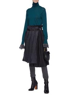 Sacai Pleated panel houndstooth check plaid skirt