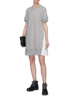 Sacai Pleated zip outseam sweatshirt dress