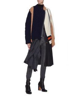 Sacai Knit patchwork zip cardigan