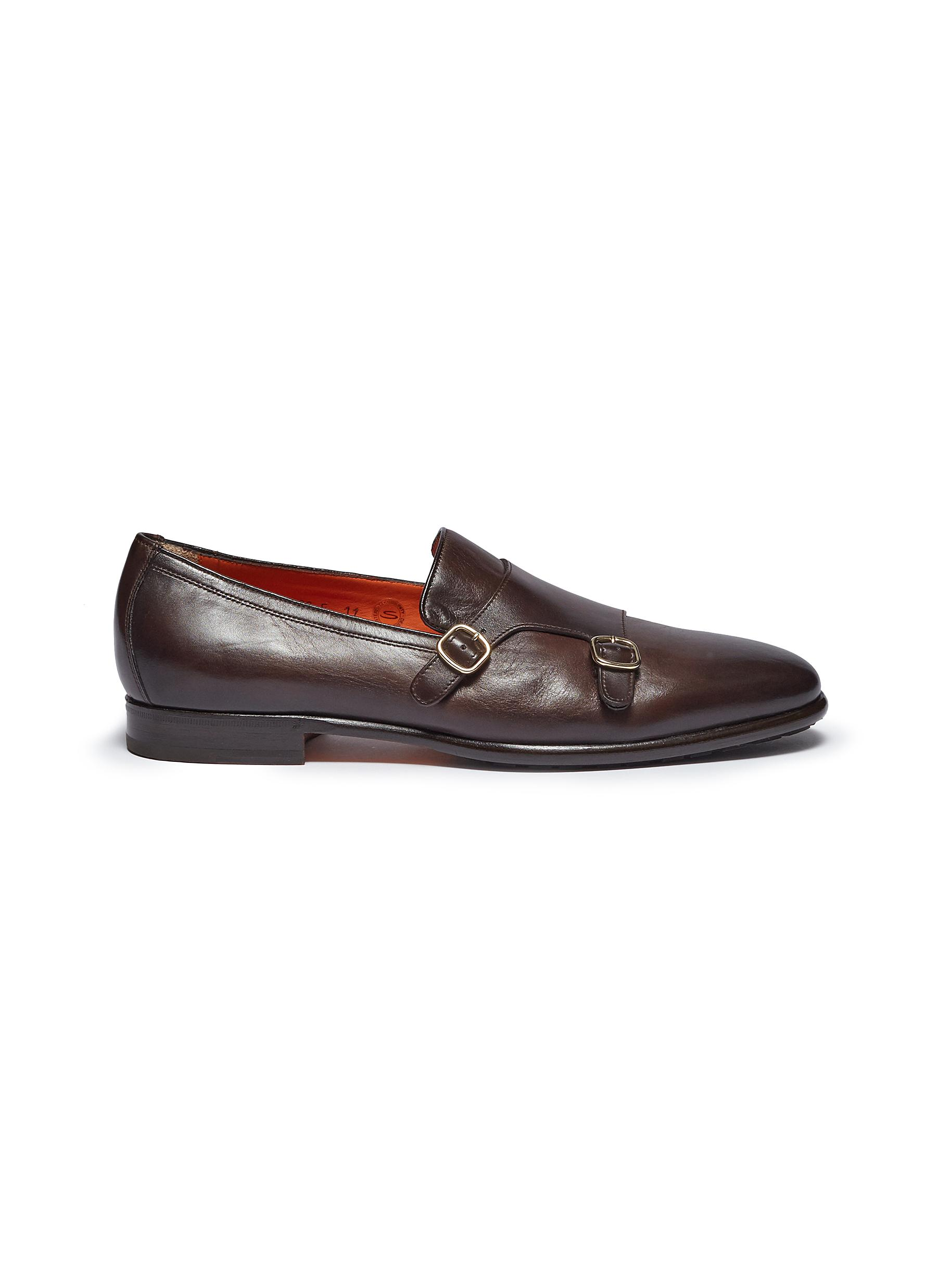Double monk strap leather loafers by Santoni