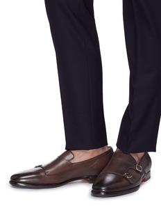 Santoni Double monk strap leather loafers