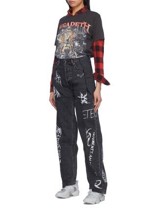 Figure View - Click To Enlarge - Vetements - Mix motif logo print patchwork straight leg jeans