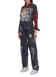 Vetements Mix motif logo print patchwork straight leg jeans