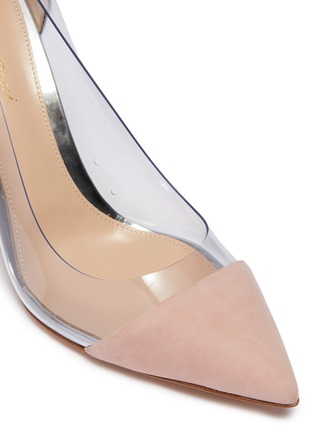 Detail View - Click To Enlarge - GIANVITO ROSSI - 'Plexi' clear PVC suede and leather pumps
