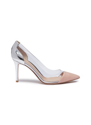 Main View - Click To Enlarge - GIANVITO ROSSI - 'Plexi' clear PVC suede and leather pumps