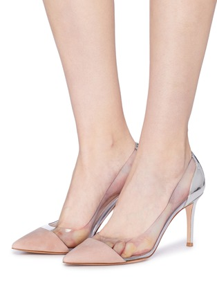 Figure View - Click To Enlarge - GIANVITO ROSSI - 'Plexi' clear PVC suede and leather pumps