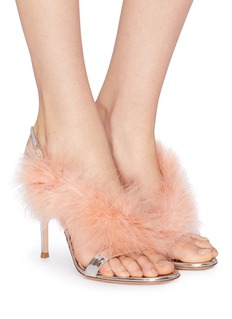 Gianvito Rossi 'Elas' marabou feather strap mirror leather sandals