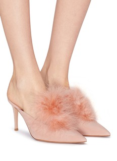 Gianvito Rossi 'Costance' marabou feather suede mules