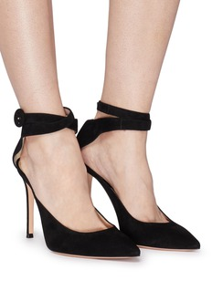 Gianvito Rossi Cross ankle strap suede pumps