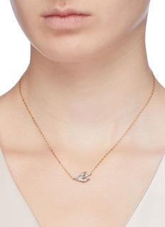 HYÈRES LOR 'Colombe d'Or' diamond 14k gold pendant necklace