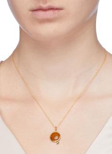 HYÈRES LOR 'Penny d'Or' amber 14k gold pendant necklace