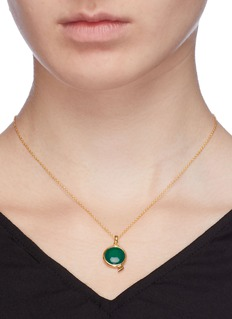 HYÈRES LOR 'Penny d'Or' jade 14k gold pendant necklace
