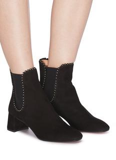 Aquazzura 'Catroux' stud scalloped edge suede Chelsea ankle boots