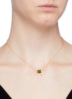 HEFANG 'Aurora' cubic zirconia thread spindle necklace