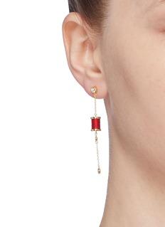 HEFANG 'Aurora' cubic zirconia thread spindle chain earrings
