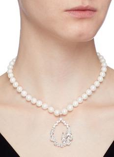HEFANG 'Castle' cubic zirconia shell pearl pendant necklace
