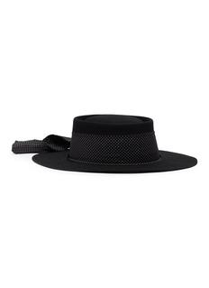 Sensi Studio Polka dot ribbon wool felt gaucho hat