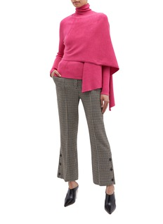 PHVLO Two-in-one sash drape turtleneck cardigan