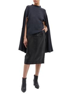 PHVLO Button split kimono sleeve mock neck sweater