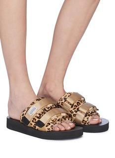 SUICOKE 'MOTO-VHL' leopard print strappy band calf fur slide sandals
