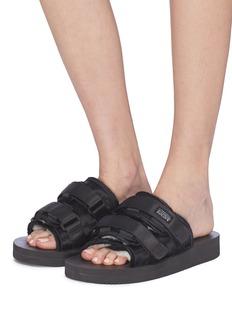 SUICOKE 'MOTO-VHL' strappy band calf fur slide sandals